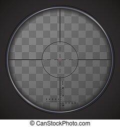 Realistische Scharfschützen-Sicht auf transparentem Hintergrund.