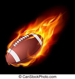 Realistischer amerikanischer Football im Feuer