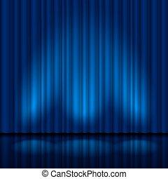 Realistischer blauer Vorhang