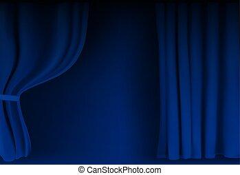 Realistischer, farbenfroher, blauer Samtvorhang gefaltet. Option Vorhang zu Hause im Kino. Vector Illustration
