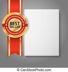 Realistisches, weißes, leeres Hardcover Buch, Vorderansicht mit goldenem und rotem Bestseller