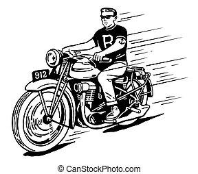 Rebell auf klassischem Motorrad