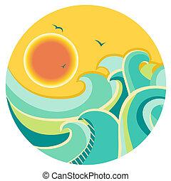 Rebfarbener Seehafen mit Sonne auf rundem Symbol