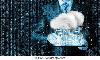 rechnen, begriff, technologie, wolke, konnektivität