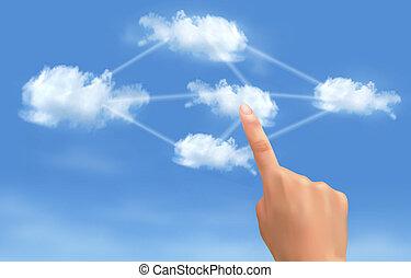 rechnen, concept., hand, berühren, verbunden, vector., clouds., wolke