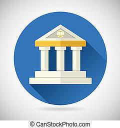 Rechtsgericht, Museumsbank-Symbol Gerechtigkeit, Finanzen oder Geschichts- und Wissens-Symbol auf stylischem Hintergrund modernes Flachbild-Vektor Illustration.
