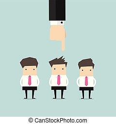 Recruitment Konzept Hand auf Geschäftsmann.