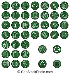 Recycleable material icon set.