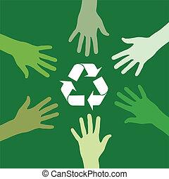 Recycling-grünes Team