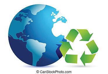 Recycling-Symbol mit einer Erdkugel