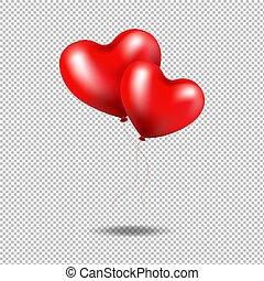 Red Ballons Herz isoliert transparenten Hintergrund.