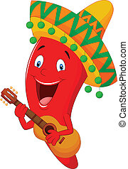Red Chili Pfeffer Zeichentrickfigur.