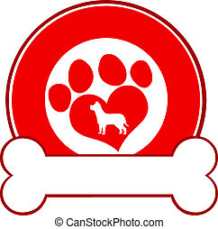 Red Circle Label Design mit Pfote