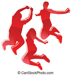 Red glossy Silhouettes, drei Freunde springen.
