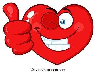 Red Heart Cartoon Emoji Face blinkt und gibt einen Daumen nach oben