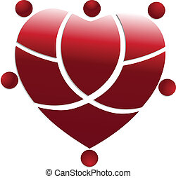 Red heart medical people Team Logo.