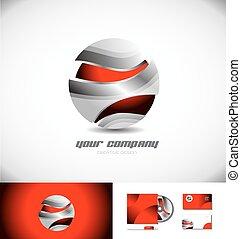 Red metallic 3d Kugel Logo Icon.