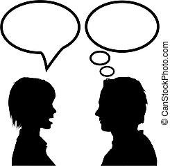 Rede & rede von Mann & Frau, die sagt, hör zu & denk nach