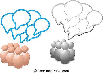 Redebläschen symbolisieren, dass Menschen über soziale Medien sprechen