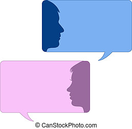 Redeblasen mit männlichem und weiblichem Gesicht.