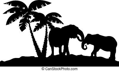 reflexion, afrikanisch, landschaftsbild