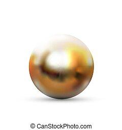 reflexion, weißer bereich, glänzend, glanz, realistisch, freigestellt, gold