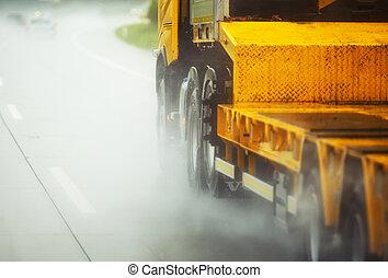 regen, fahren lastwagen, schwer