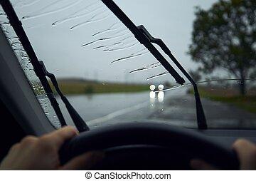 regen, fahren, schwer
