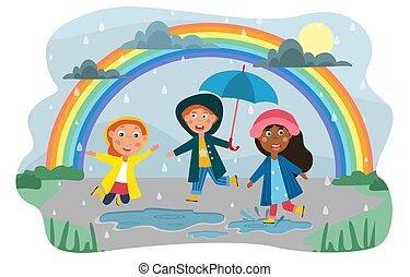 regen, glücklich, gruppe, kinder, verschieden, spielende
