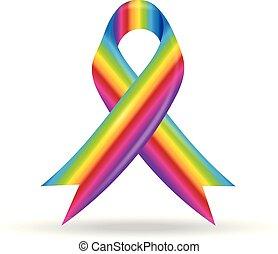 regenbogen, geschenkband