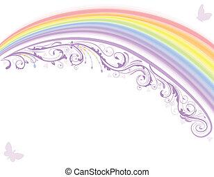 regenbogen, karte, blumen-