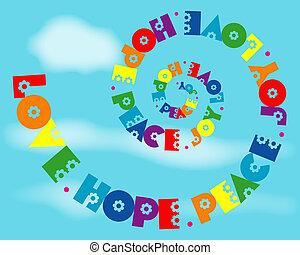 regenbogen, liebe, freude, frieden, spirale, hoffnung