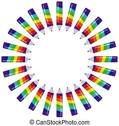 regenbogen, rahmen, runder , farbe, element, elemente, bleistift, dekorativ, kreativ, sieben