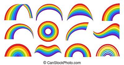 regenbogen, satz, klassisch, verschieden, wetter, formen
