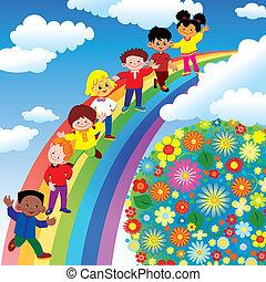 regenbogen, slide., kinder
