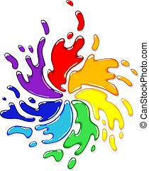 regenbogen, spritzen, swirl.