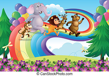 regenbogen, tiere, gruppe