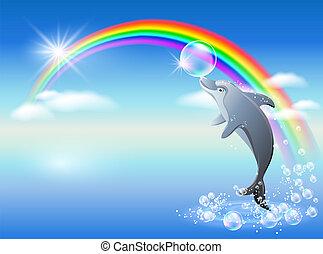 Regenbogen und Delfin