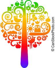 Regenbogenbaum mit ökologischen Ikonen