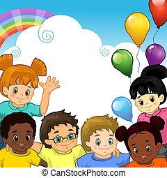 Regenbogenkinder zusammen.