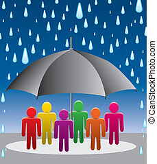 Regenschirmschutz vor Regentropfen