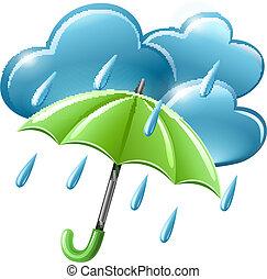 Regenwetter-Ikone mit Wolken und Regenschirm