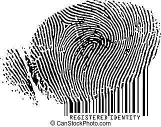 Registrierte Identität - Fingerabdrücke werden Barcode.