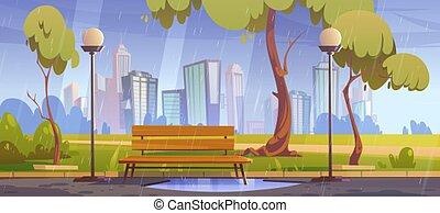 regnerisch, parkbank, stadt, weather., sommer