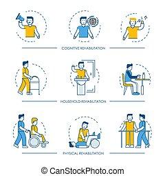 Rehavektor-Ikonen für kognitive, physikalische und häusliche Rehabilitationsmedizin