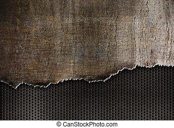 Reißen Sie Metall Hintergrund mit rostigen Kanten.