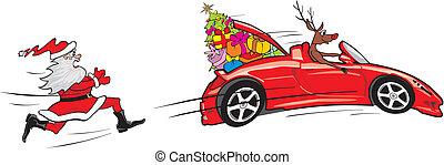 Reindeer entkommt dem Cabrio