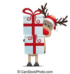 Reindeer hat Geschenkkästen