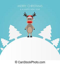 Reindeer hat Weihnachtsbaum weiß B
