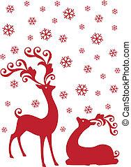 Reindeer im Schneefall, Vektor.